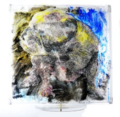 Bulldog Revolving Sculpture 3D Painting on Lucite Your Pet Commission Undertaken