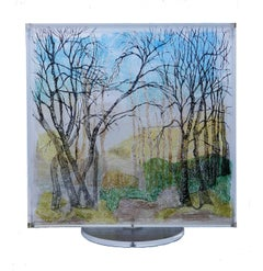 Foret Eternale Kinetic Revolving Sculpture 3D Painting on Lucite