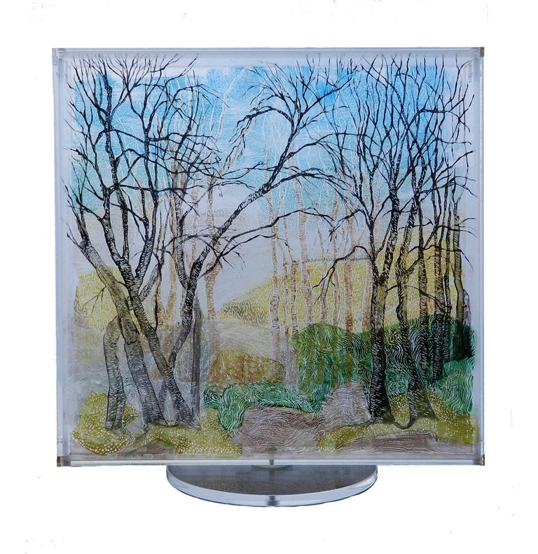 Revolving Kinetic sculpture double-sided 3D painting on Lucite by Perez Periarte Unusual innovative artwork from this contemporary French artist Two different images painted on clear perspex sheets allowing light to pass through and mounted together