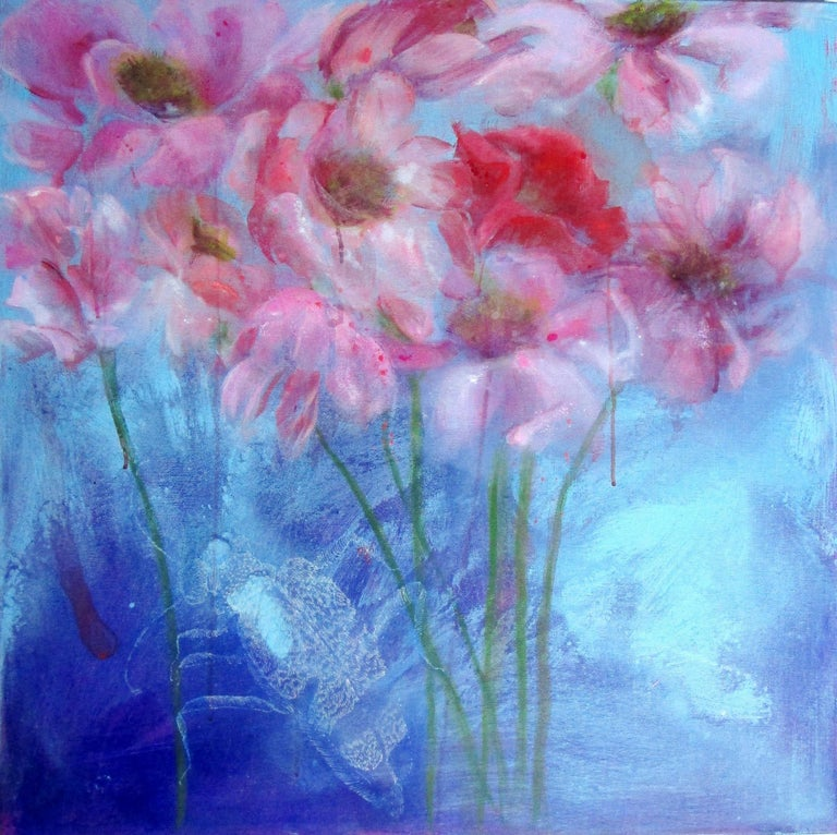Fleurs et Bestials by Perez Petriarte  Painting on canvas with flowers and insect  70cms x 70cms  Perez Pétriarte grew up on the coast of SW France. She is an artist whose work evolves and follows strong phases of development periodically Her work