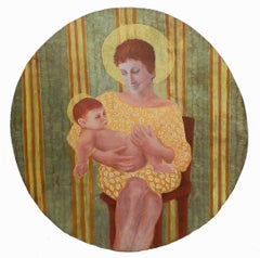Mother and Child by Perez Petriarte Oil on Board