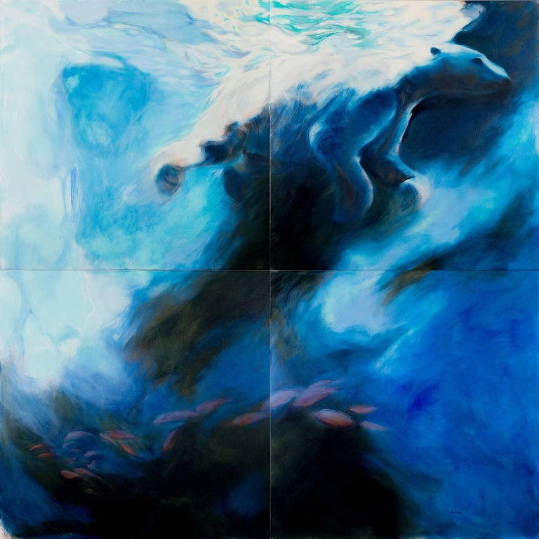 Polar Bear 'Ours'  by Perez Petriarte  This work is on 4 separate canvases each measuring 100cms x 100cms  shown here as one To be displayed with gaps between the canvases to represent the shattering of the world for the polar bear due to loss of