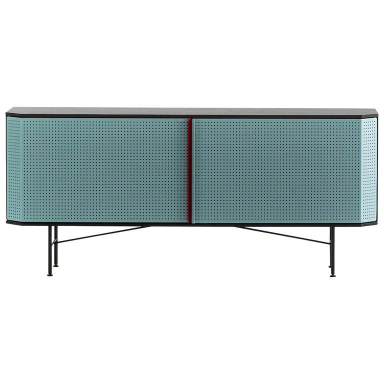 """""""Perf"""" Sideboard in Varnished Steel & Oak Veneered Plywood by Moroso for Diesel For Sale"""