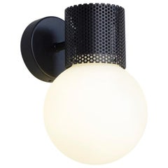 Perf Wall Sconce, Black Perforated Tube, Glass Round Orb Shade