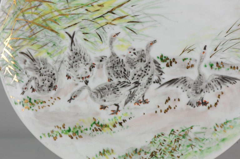 Perfect 20th-21th Century Japanese Porcelain Charger Birds Gooses in Landscape For Sale 5