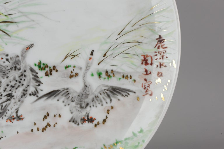 Perfect 20th-21th Century Japanese Porcelain Charger Birds Gooses in Landscape For Sale 6