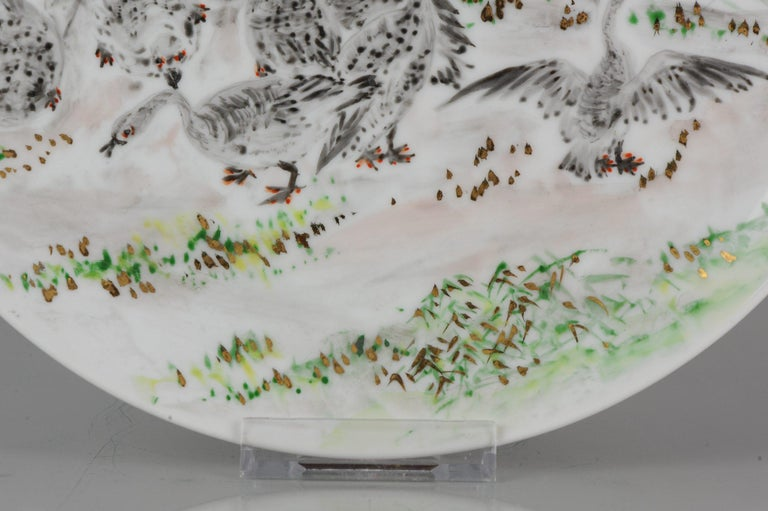 Perfect 20th-21th Century Japanese Porcelain Charger Birds Gooses in Landscape For Sale 7