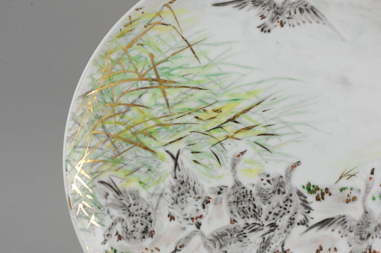 Perfect 20th-21th Century Japanese Porcelain Charger Birds Gooses in Landscape For Sale 8