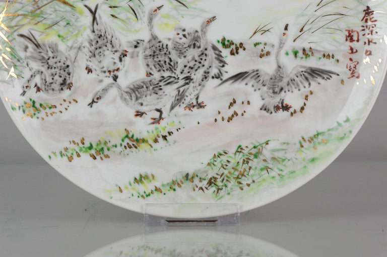 Perfect 20th-21th Century Japanese Porcelain Charger Birds Gooses in Landscape For Sale 9