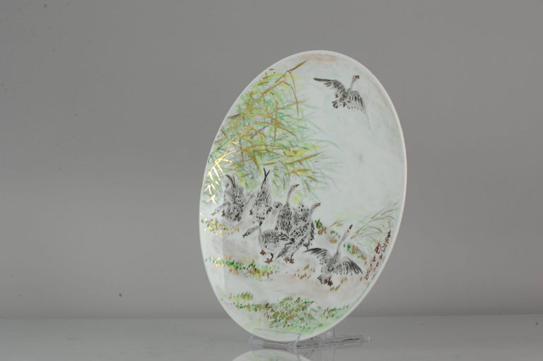 Meiji Perfect 20th-21th Century Japanese Porcelain Charger Birds Gooses in Landscape For Sale