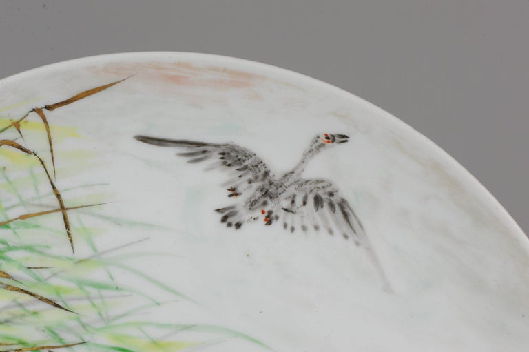 Perfect 20th-21th Century Japanese Porcelain Charger Birds Gooses in Landscape For Sale 3