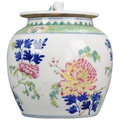 Perfect 20th Century Chinese Porcelain Jingdezhen PRoC Lidded Jar Famille Rose