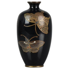 Perfect Antique Japanese Cloissone Vase Butterflies Quality, circa 1900