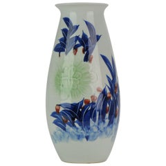 Perfect Chinese porcelain PRoC Vase Flowers Tulips Unusual Calligraphy