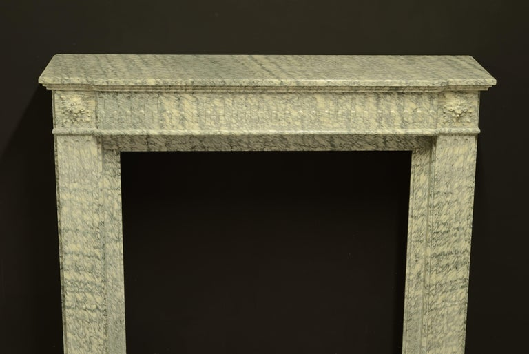 Perfect French Louis XVI Fireplace Mantel in Vert d'estours Marble For Sale 8