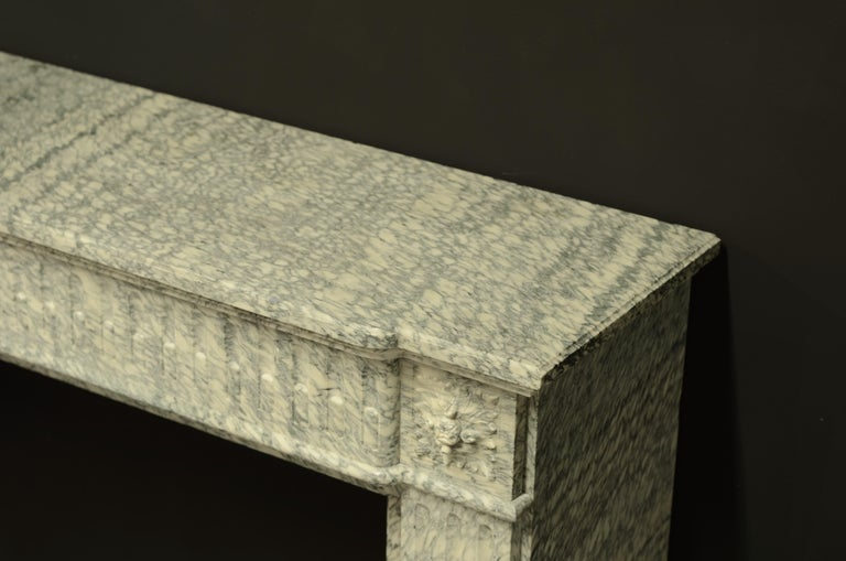 Perfect French Louis XVI Fireplace Mantel in Vert d'estours Marble For Sale 9