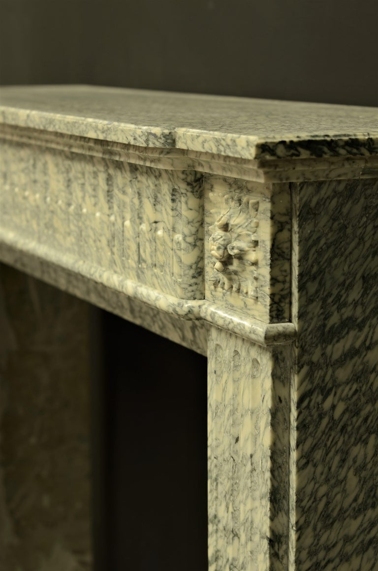 Perfect French Louis XVI Fireplace Mantel in Vert d'estours Marble For Sale 10