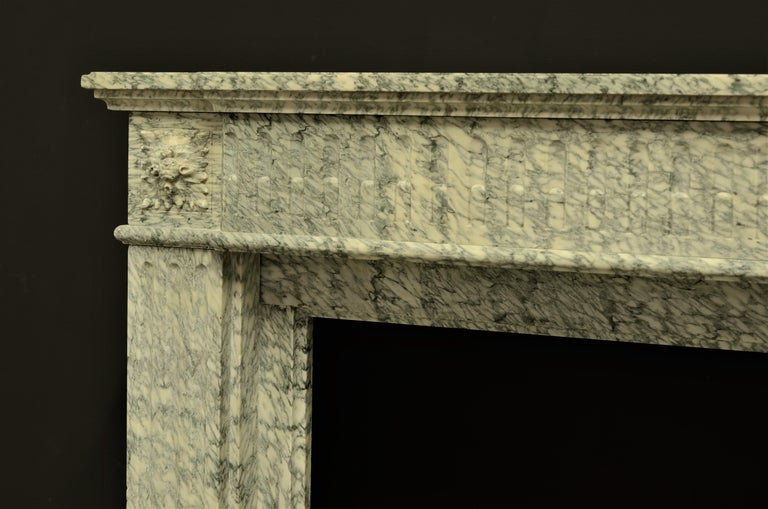 19th Century Perfect French Louis XVI Fireplace Mantel in Vert d'estours Marble For Sale