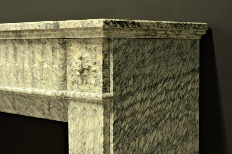 Perfect French Louis XVI Fireplace Mantel in Vert d'estours Marble For Sale 2