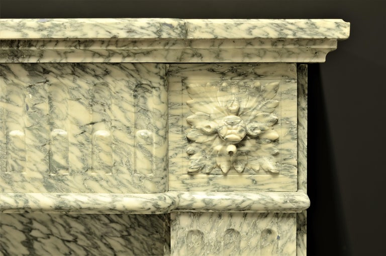 Perfect French Louis XVI Fireplace Mantel in Vert d'estours Marble For Sale 3
