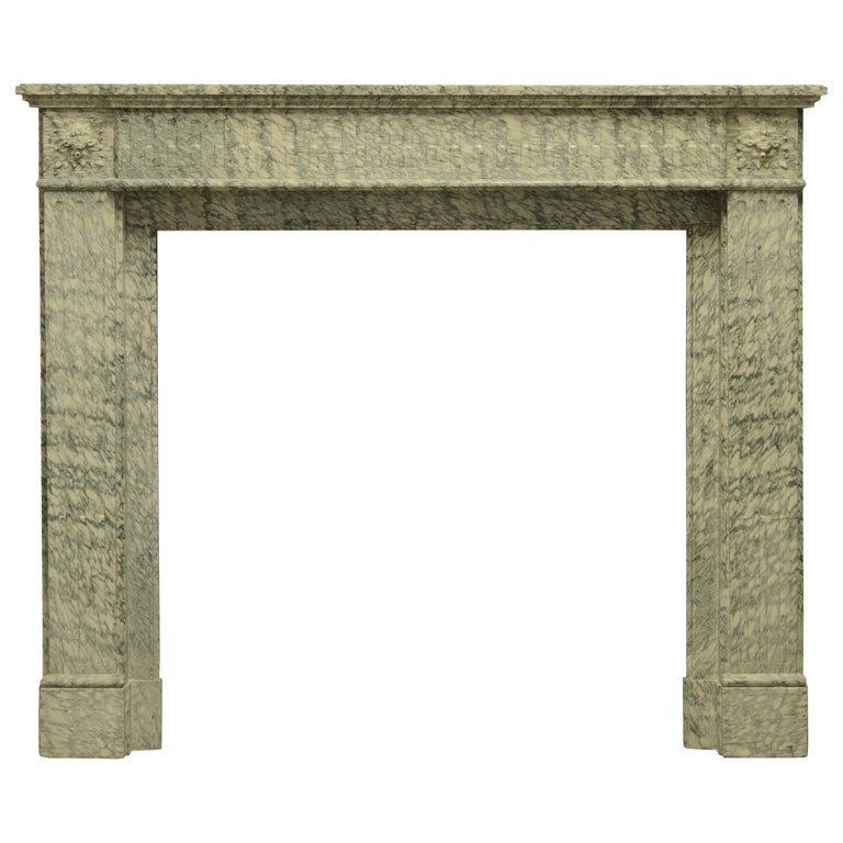 Perfect French Louis XVI Fireplace Mantel in Vert d'estours Marble For Sale