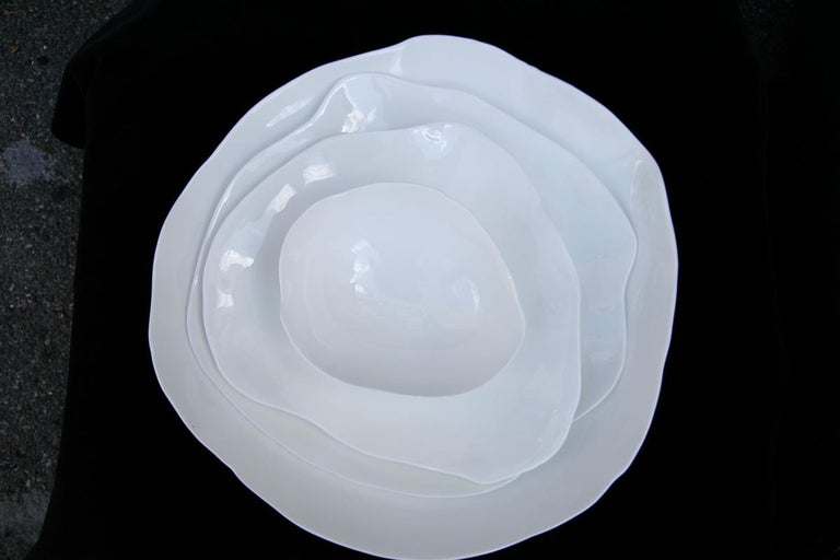 Perfect Imperfection White Bone China Plates and Bowl In New Condition For Sale In Los Angeles, CA