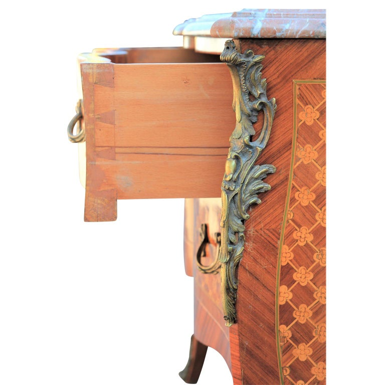 20th Century Perfect Louis XV Style French Parquetry Ormolu Mounted Marble Commode or Chest For Sale