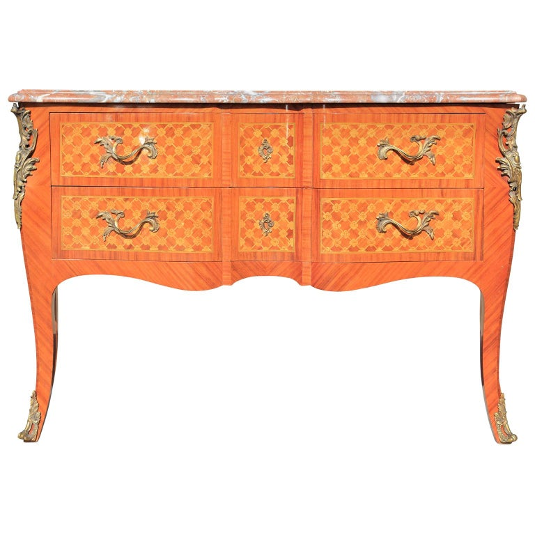 Perfect Louis XV Style French Parquetry Ormolu Mounted Marble Commode or Chest For Sale