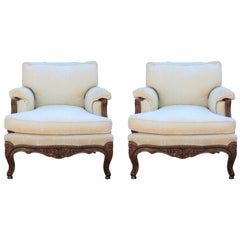 Perfect Pair of Italian Rococo Style Carved Walnut Armchairs