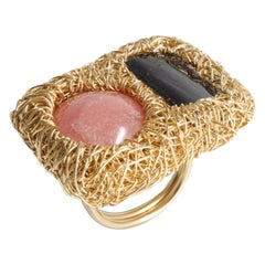 Perfect Pink and Grey Stone 14 kt Gold F Cocktail Statement Ring by the Artist