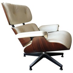 Herman Miller Eames Lounge Chair with New Ivory Leather