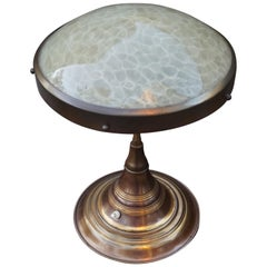 Perfect Size and Shape Art Deco Brass Table or Desk Lamp with Art Glass Shade