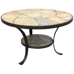 Perfect Size Midcentury Wrought Iron Base & Slate Stone Top Round Coffee Table