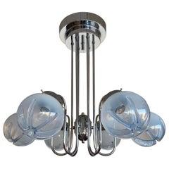 Perfect Size Midcentury Venetian Mazzega Murano Six Globe Glass Light Fixture