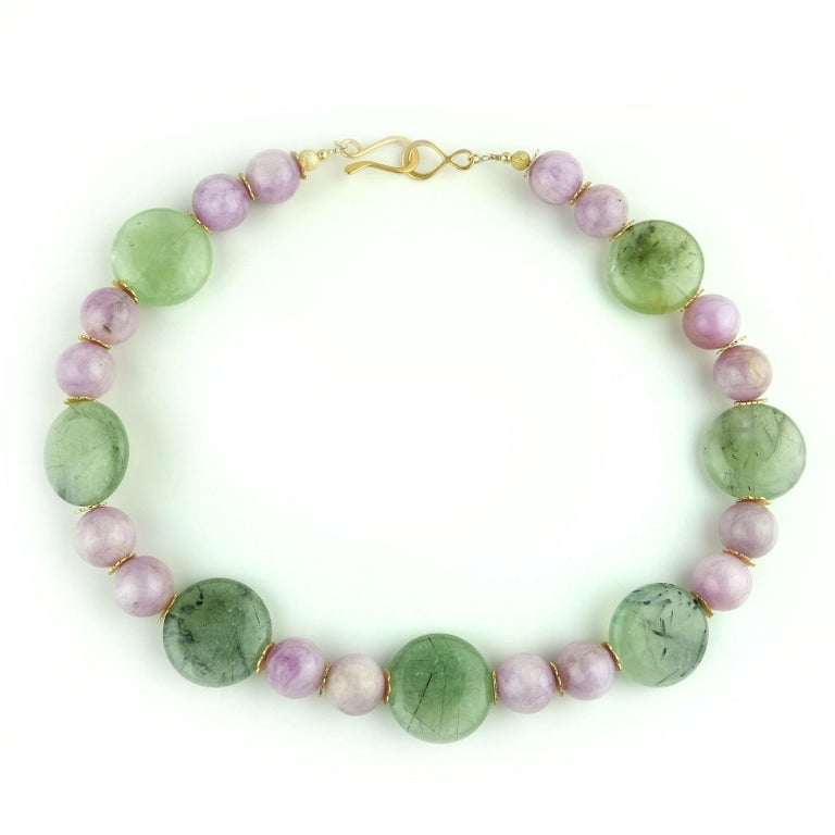 Artisan Perfect Summer Necklace of Kunzite and Prehnite For Sale