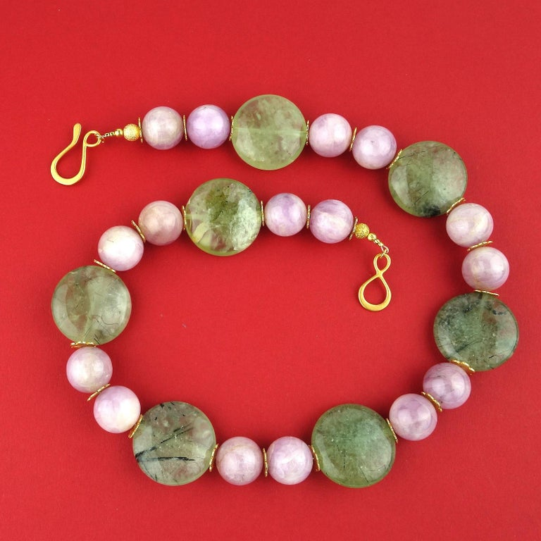 Women's or Men's Perfect Summer Necklace of Kunzite and Prehnite For Sale