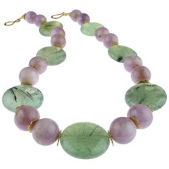 Gemjunky Perfect Summer Necklace of Kunzite and Prehnite
