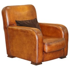 Perfect Tetrad Totnes Brown Leather Armchair with Feather Filled Lumbar Cushion