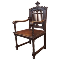 Perfectly Hand Carved and Superb Condition Antique Gothic Revival Armchair Chair