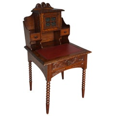Perfectly Hand Carved Arts & Crafts Oak Ladies Desk with Red Leather Inlaid Top