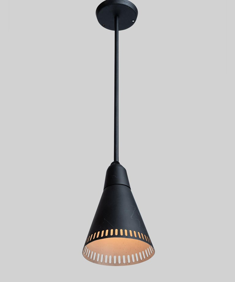 Modern Perforated Black Metal Lamps, France, circa 1950 For Sale