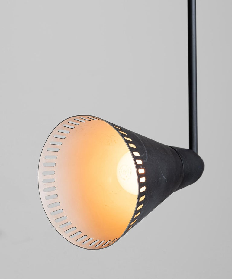 French Perforated Black Metal Lamps, France, circa 1950 For Sale