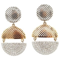 Perforated Dangling Flat Button Pavé Diamond Earrings in 18K White and Rose Gold
