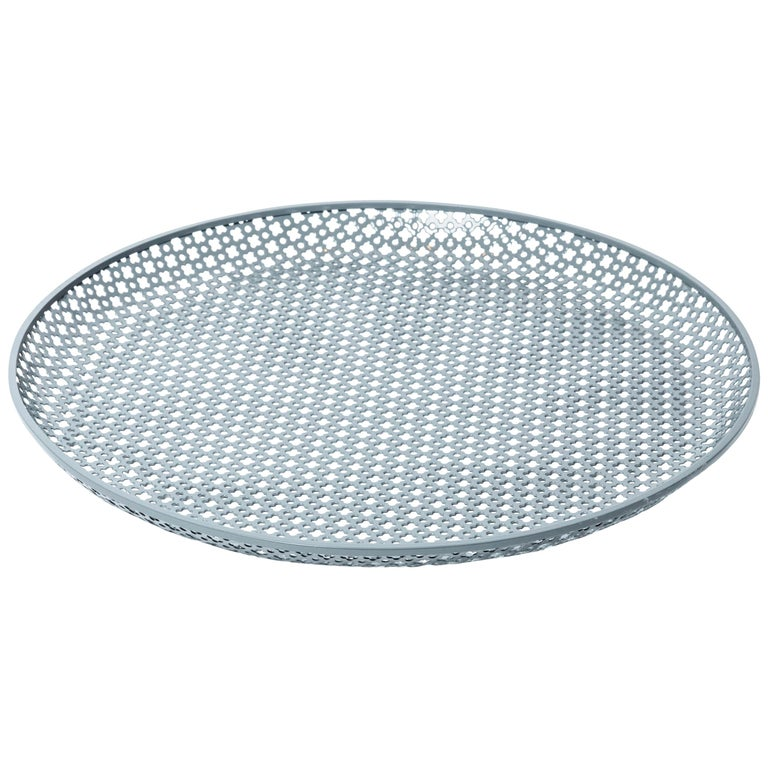 Perforated Gray Enameled Platter by Mathieu Matégot, France, 1950 For Sale