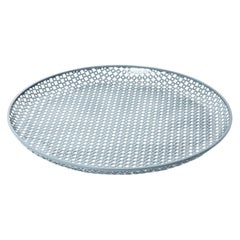 Perforated Gray Enameled Platter by Mathieu Matégot, France, 1950