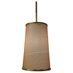 Perforated Italian Pendant Lamp in Brass and Steel, 1960s
