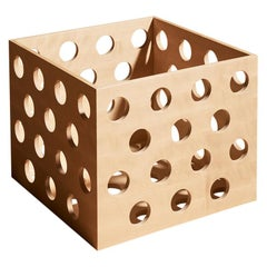 Perforated Large Storage Box, Solid Birch Wood Perforated Box by Erik Olovsson