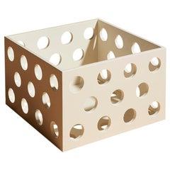 Perforated Medium White Wood Storage Box, Laquered Box by Erik Olovsson
