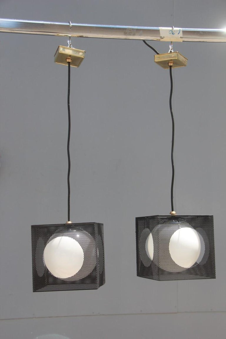 Perforatedmetal black white ceiling lamp mid-century Italian design 1950s brass. 1 Light Bulb E14 Max 40 Watt.
