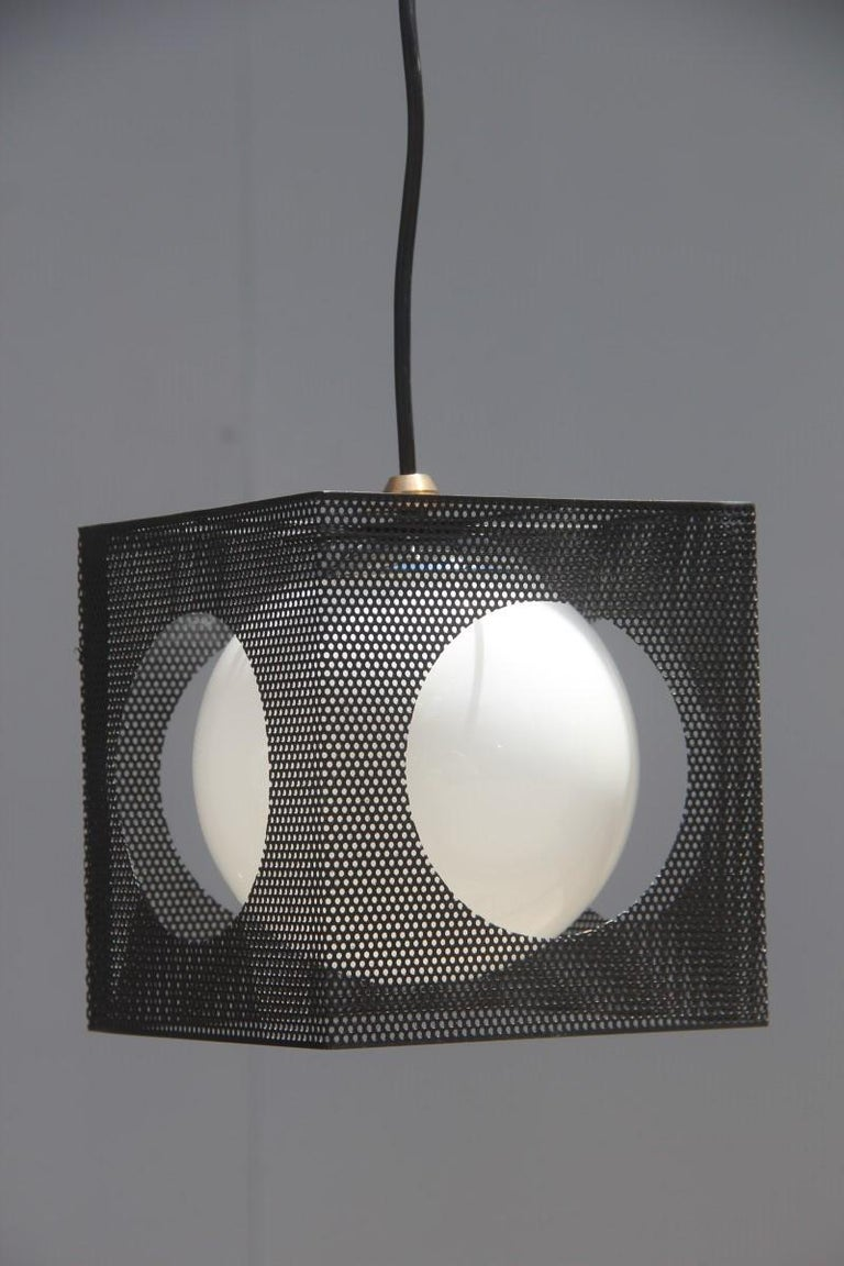 Mid-Century Modern Perforated Metal Black White Ceiling Lamp Mid-Century Italian Design 1950s Brass For Sale